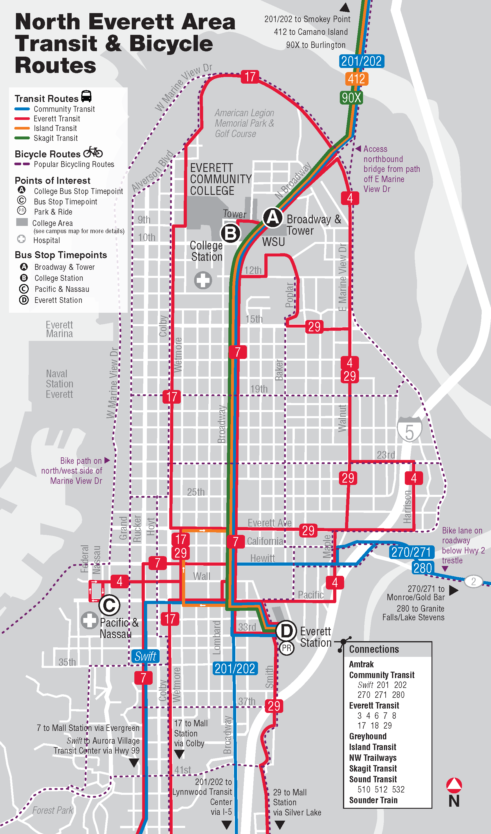 Map of north Everett area transit and bicycle routes