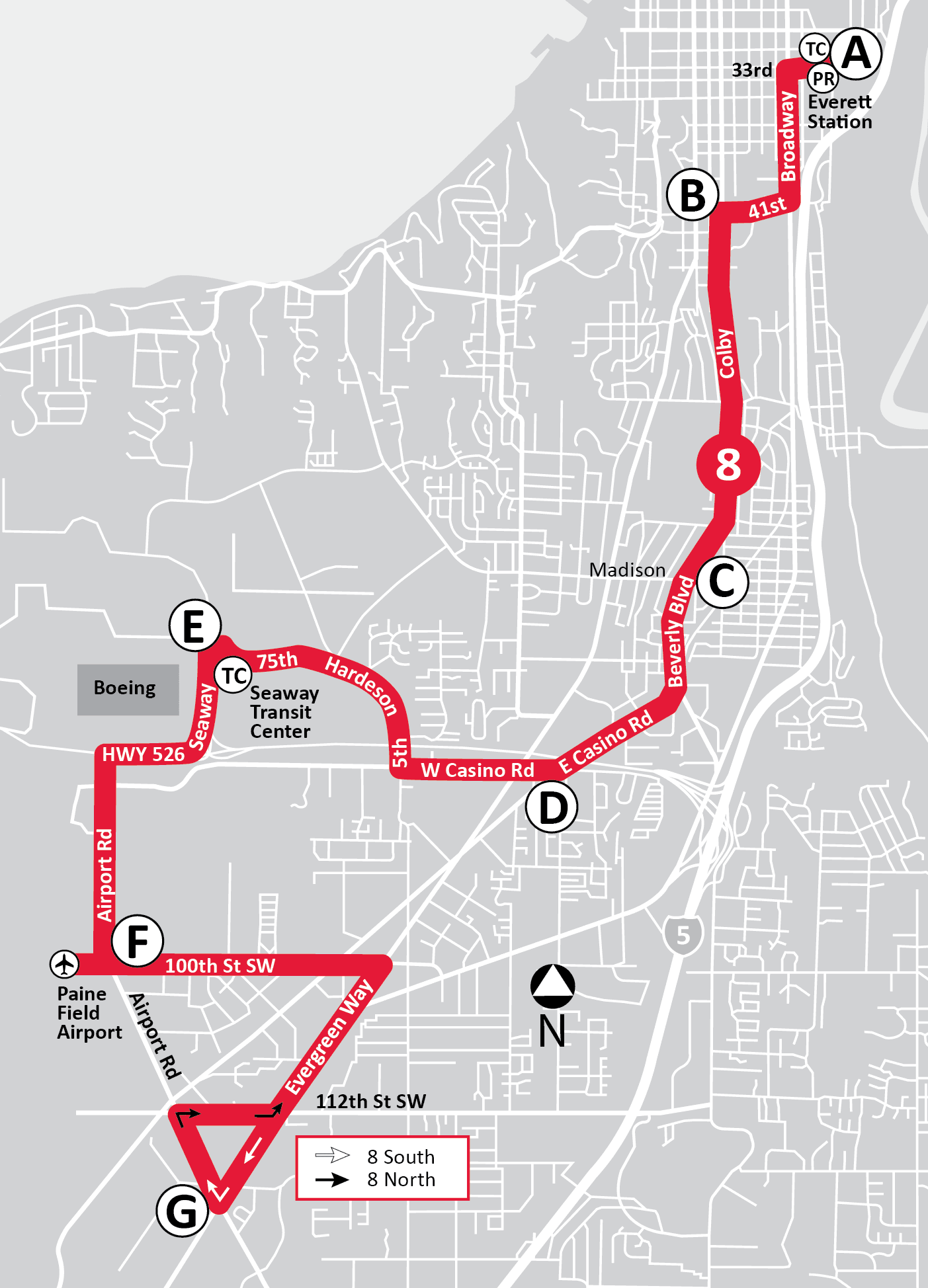 Route 8: S to Airport Road & N to Everett Station | Everett