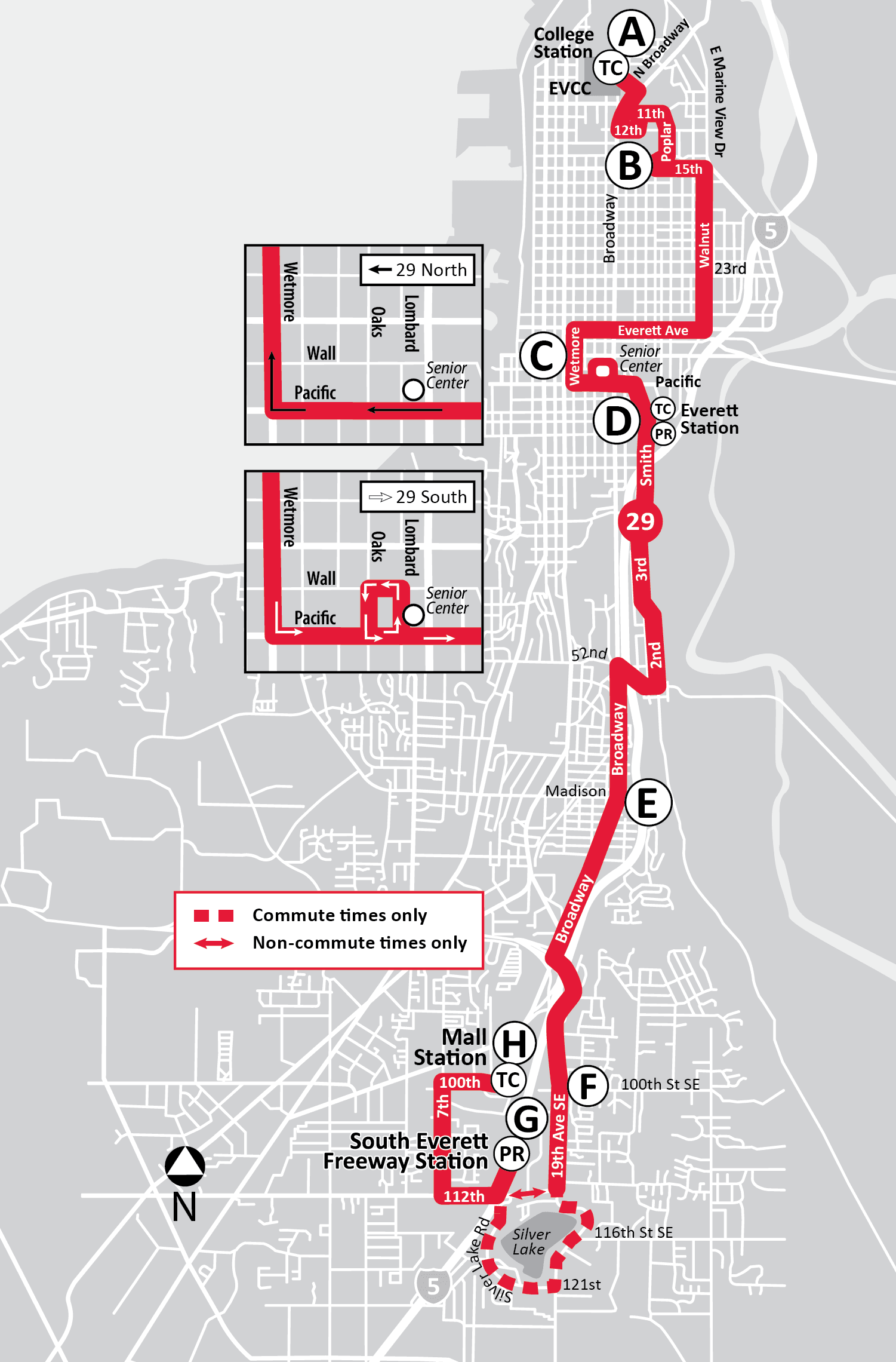 Route 29: S to Mall Station & N to College Station | Everett