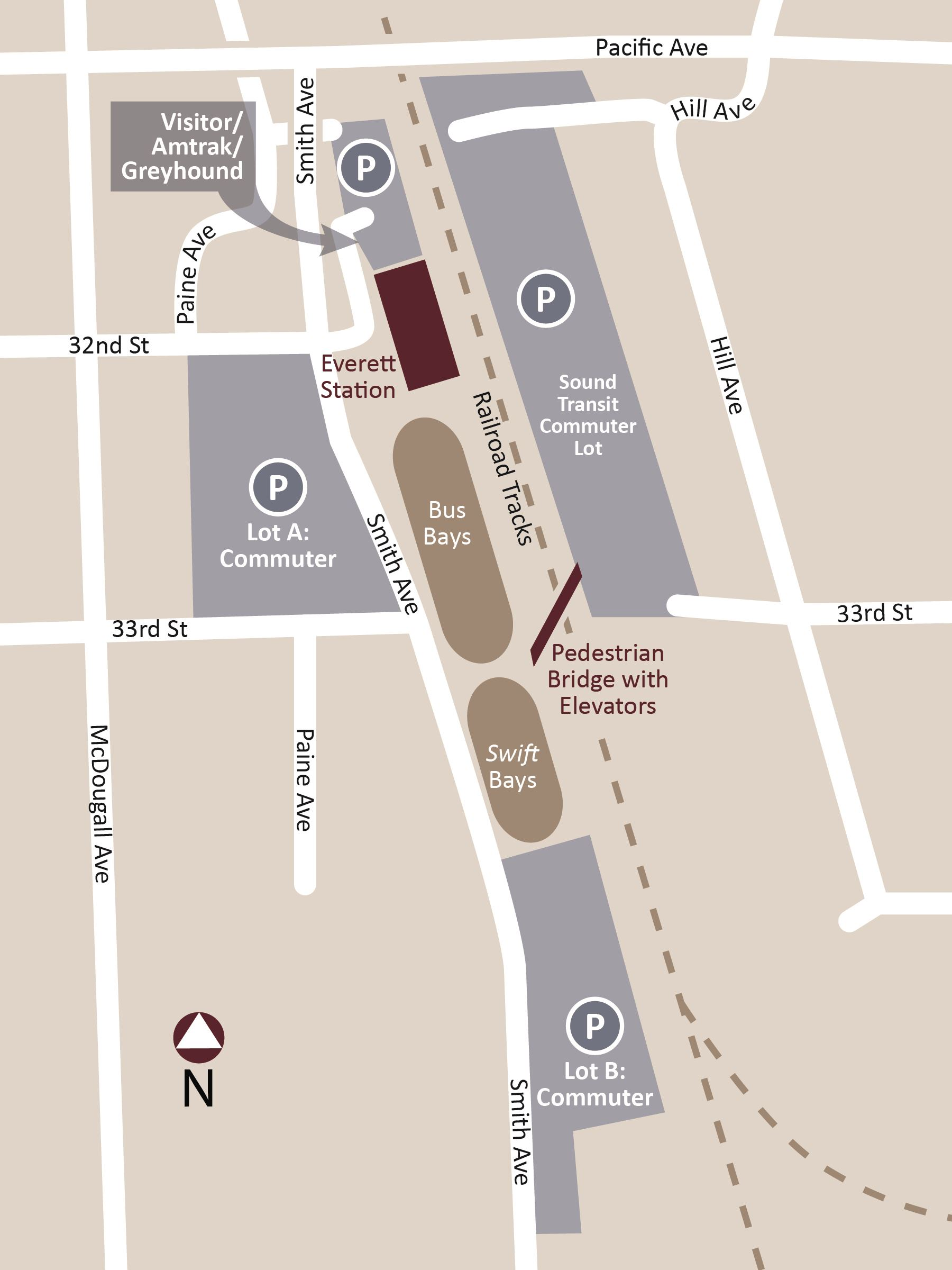 Everett Station Parking Map